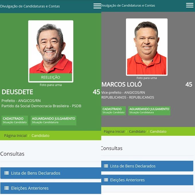 DEUSDETE e MARCOS registram pedido de candidatura no site do TSE