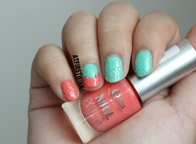 Etos sugar nail polishes coral and green with pa nail color A125 as top coat from far