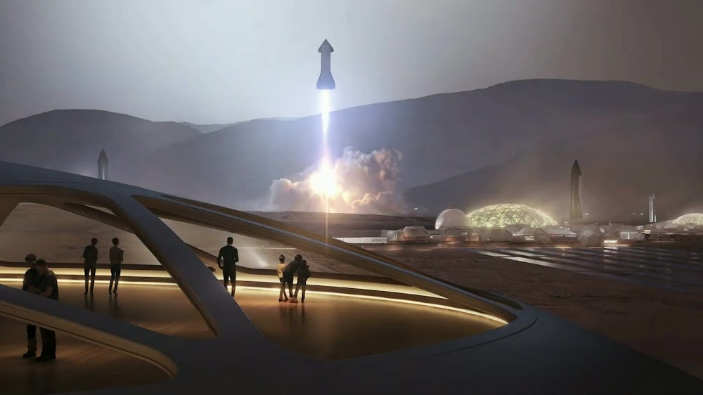 SpaceX's Starship landing at Mars Base Alpha