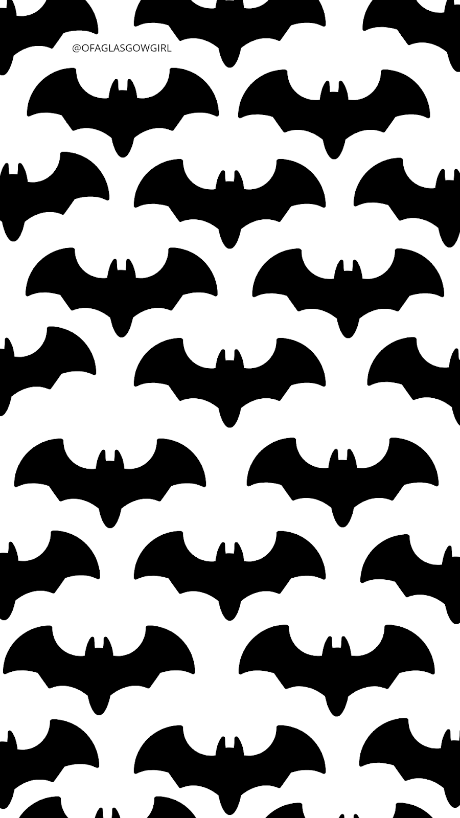 Halloween phone wallpaper or instagram template with a repeated pattern of black bats on it.