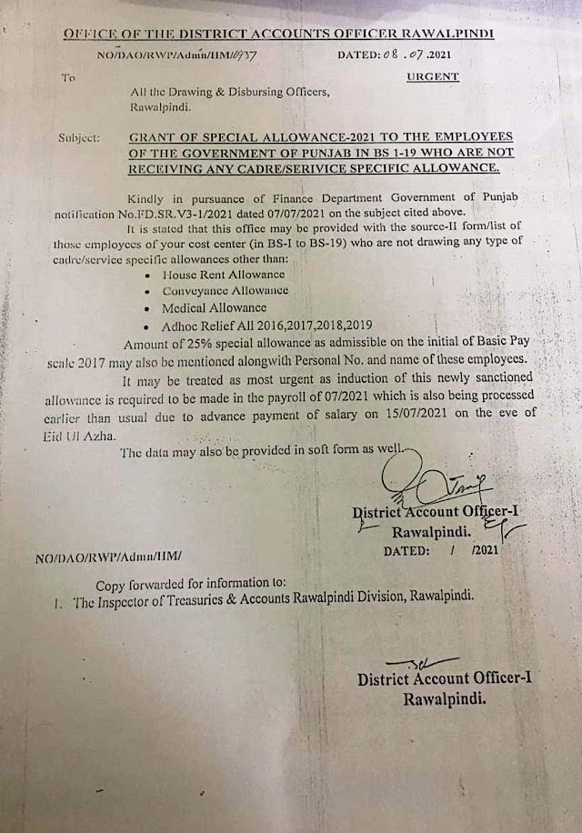 PROVISION OF SOURCE-II FORM FOR GRANT OF 25% SPECIAL ALLOWANCE