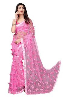 net saree with stone work at cheap price