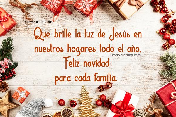 mensaje cristiano en tarjeta de feliz navidad para la familia. Adornos navideños en imagen