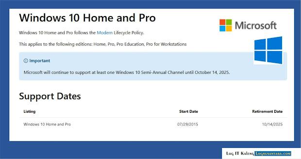 Dukungan Windows 10 Akan Berakhir pada 2025