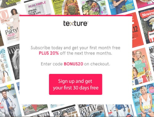 Texture Free Trial + 20% Off First Three Months Promo Code