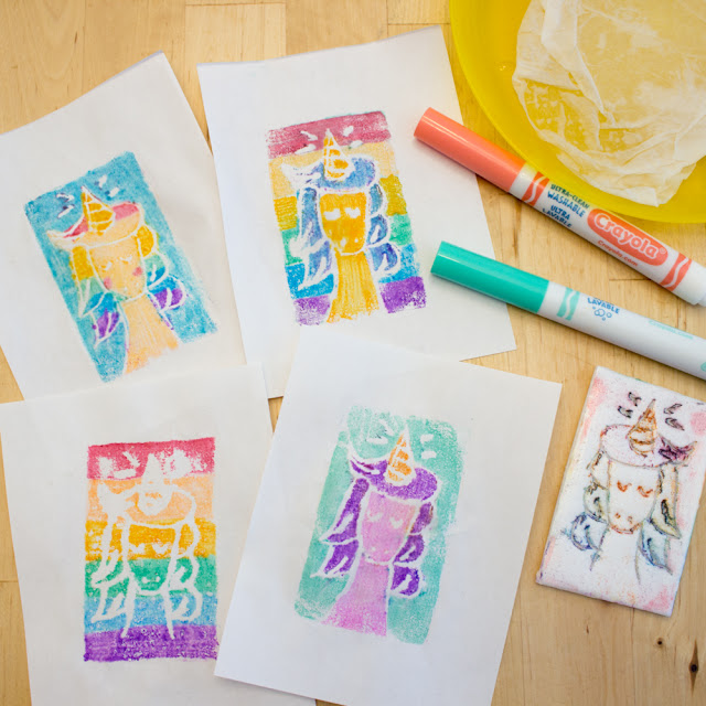 how to use markers and styrofoam to do easy printmaking activity with elementary aged kids- great cheap and recycled art project