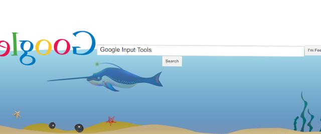 Google input tools: google gravity underwater   Top 10 google tricks