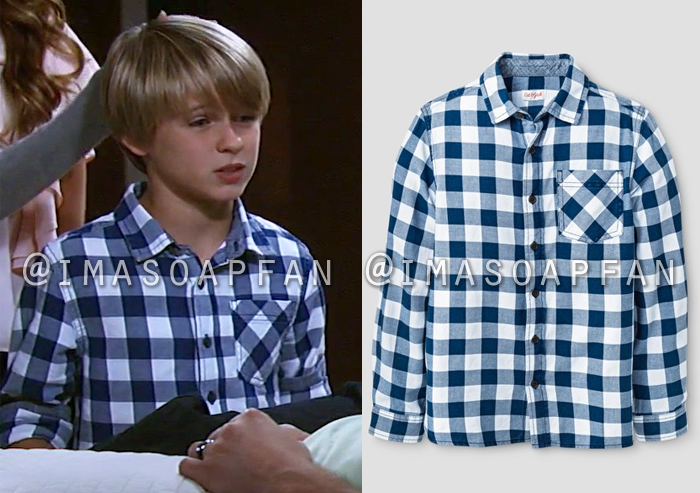 Jake Spencer, Hudson West, Blue and White Checked Shirt, General Hospital, GH