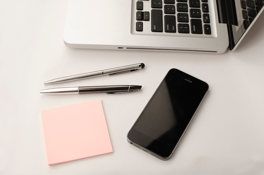 Black Phone Business Pen Pink Note Paper And Computer Desk