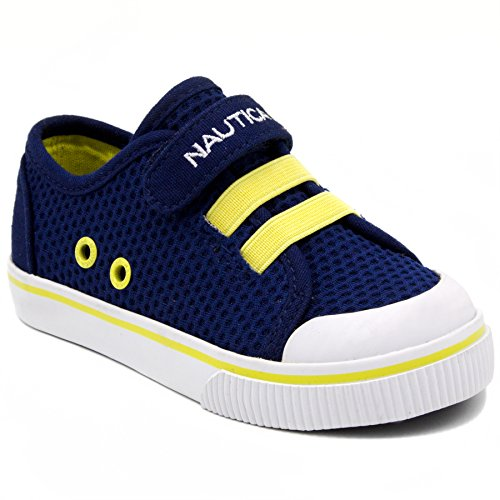 63d7f427 #boy #yeezy Nautica Kids Calloway Sneakers Velcro Bungee Straps Casual Shoes-Navy  Mesh-8 2019