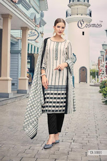 Cosmos Meher Lawn print With Embroidered Dress material