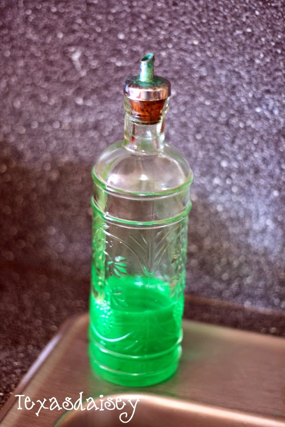 Make your dishsoap pretty in a pretty glass bottle with bar bottle pour spout
