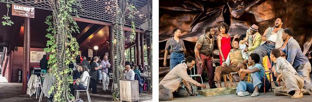 área externa do Regent's Park Open Air Theater, em Londres, e uma cena da ópera Porgy and Bess