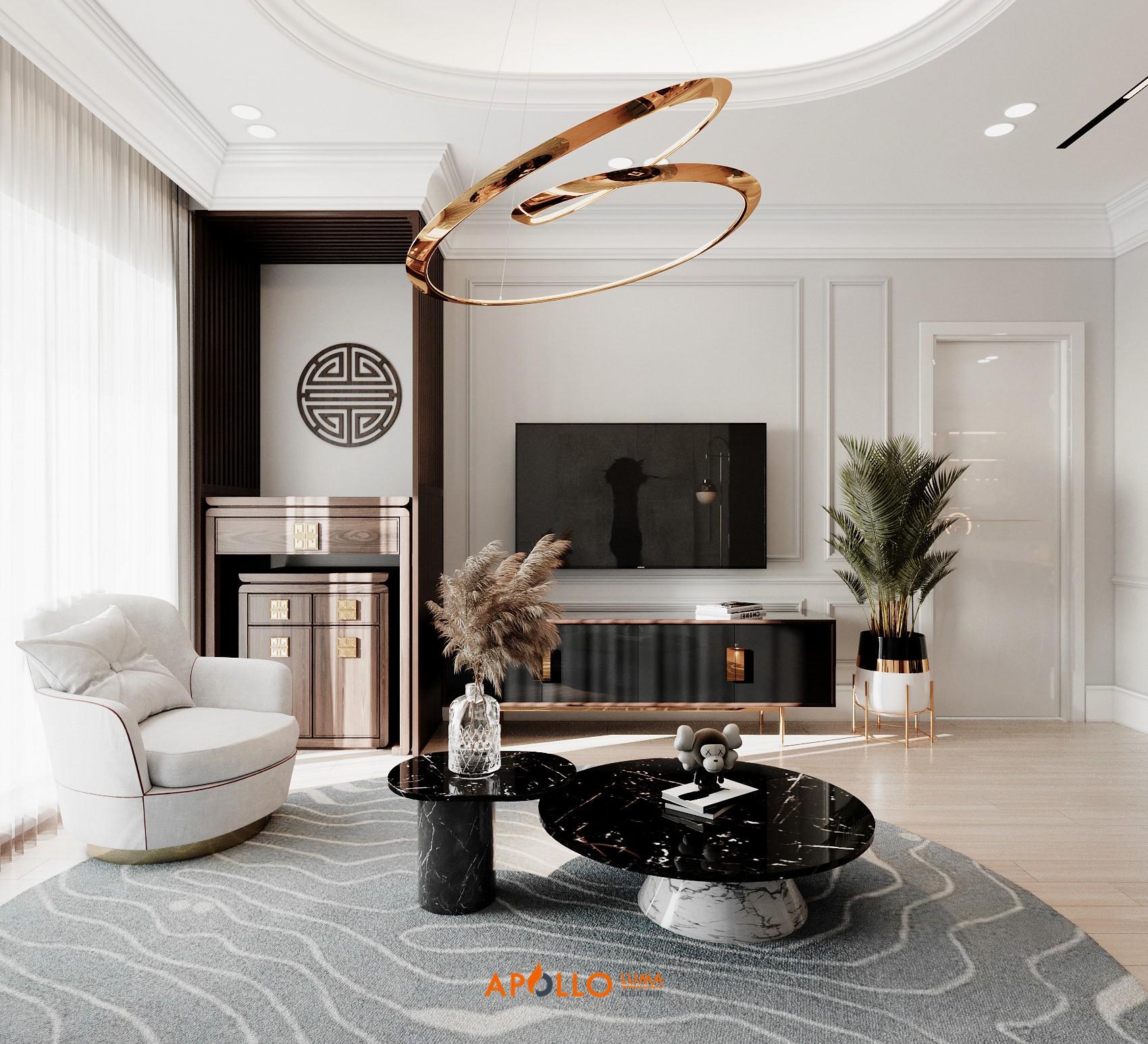 Thiết kế phòng khách căn hộ cao cấp phong cách Neo Classic