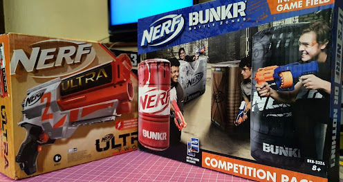Nerf BUNKR inflatable battle zone review competition pack 4 obstacles