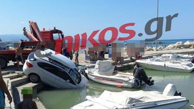 Πτώση αυτοκινήτου στο λιμάνι του Άσσου Κορινθίας