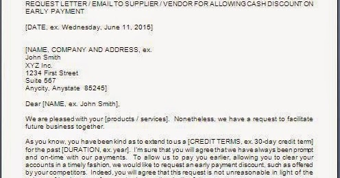 Requesting Discount On Early Payment Letter
