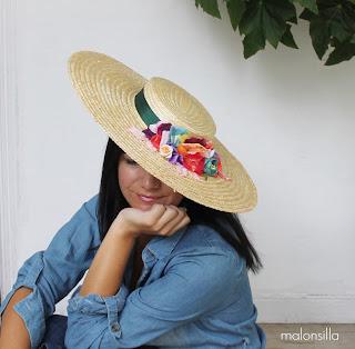Sombrero tipo canotier de ala ancha xxl para invitada boda en verde botella y flores multicolor by malonsilla