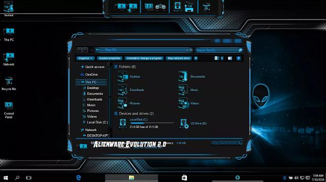 Screenshot Tema Alienware Evolution 2.0 for Windows 10