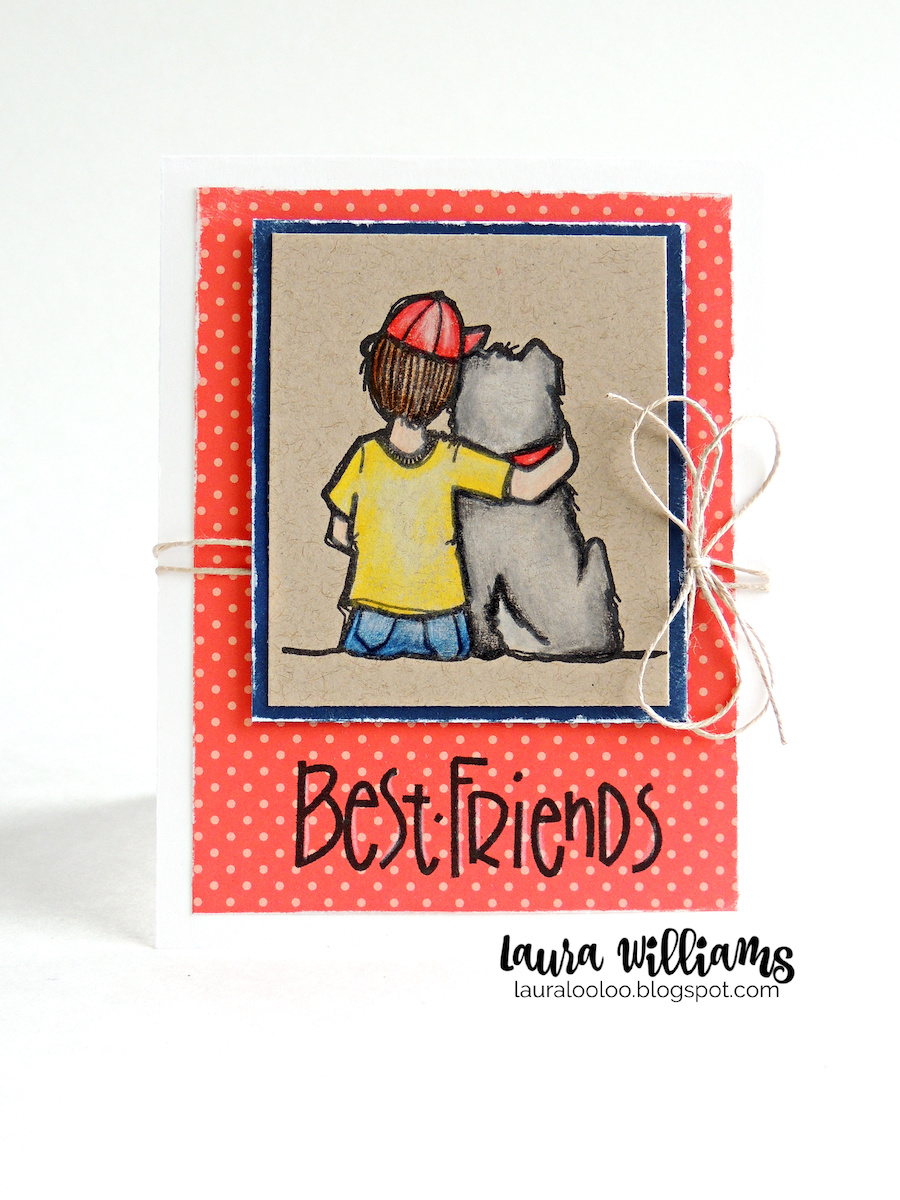 Best friends card - this stamp from Impression Obsession is so sweet, of a boy and his dog. I colored it with colored pencils and kept the rest of my handmade card simple. Find more details on my blog!