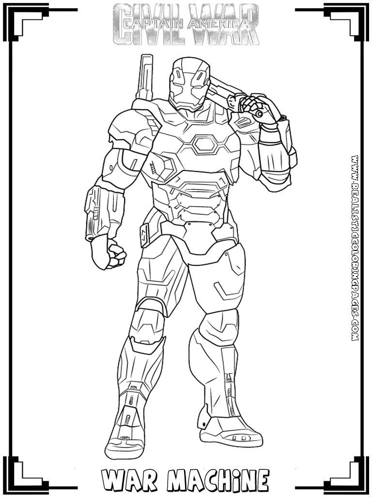 War Machine Captain America Civil Coloring Pages