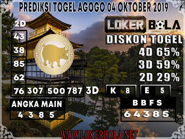 PREDIKSI TOGEL AGOGO LOKERBOLA 04 OKTOBER 2019
