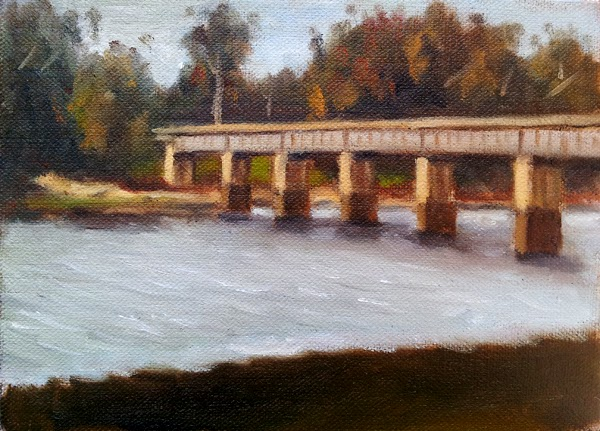 Oil painting of the Joyces Creek rail bridge near Newstead, also depicting eucalypts and the Newstead Reservoir.