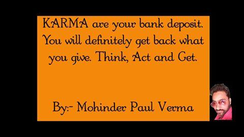 Making Self Success - Karma are Bank Deposit