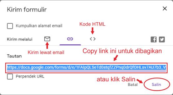 Cara mendapatkan link pada google formulir
