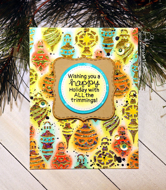 Happy Holiday with All the Trimmings by Larissa Heskett for Newton's Nook Designs using Ornaments Stencil, Christmas Trimmings Stamp Set, Frames Squared Die Set and Therm O Web & Brutus Monroe Gold Static Deco Foil  #newtonsnook #thermoweb #ornamentsstencil #decofoil #holidaycards