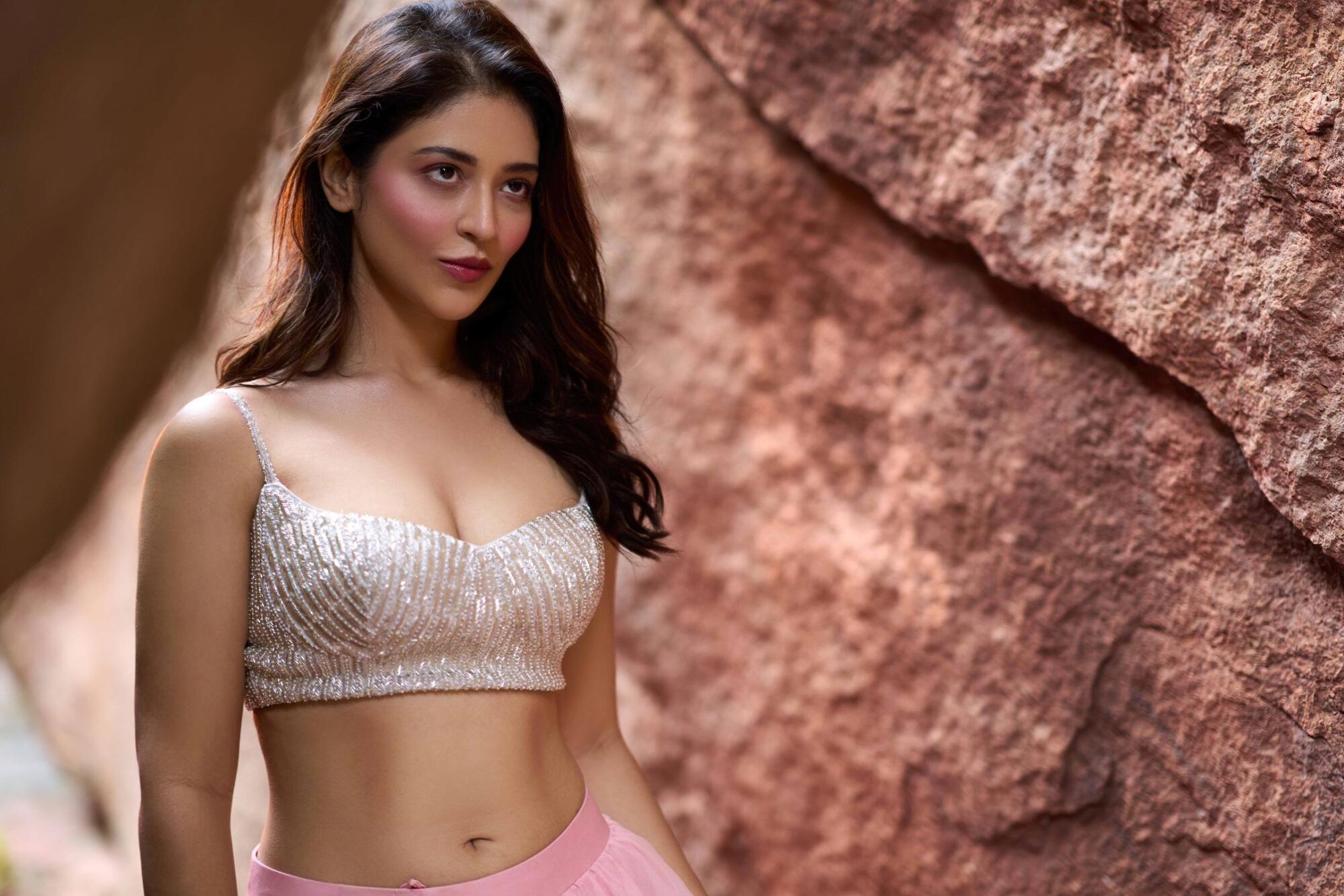Priyanka Jawalkar Cuteness Pics In Pink Dress Ragalahari Photos