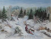 La famille au chalet, huile sur toile 11 x 14 par Clémence St-Laurent - enfants avec leur chien et un traîneau en campagne montagneuse en hiver