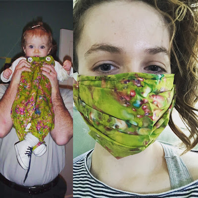 image: Two photos: Left: Iz as a baby wearing overall made from marbled green fabric; right: Iz right now wearing a face mask made out of the very same fabric.