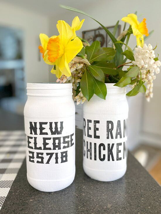 Painted Recycled Mason Jar vases with a Farmhouse Transfer