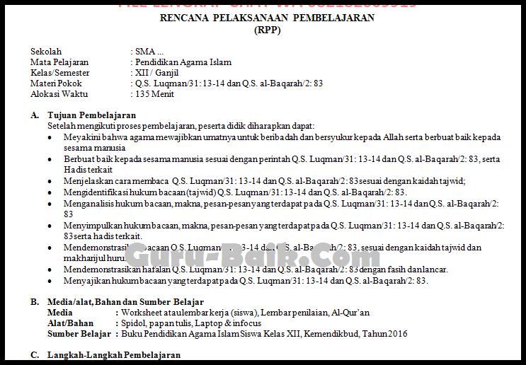 contoh rpp 1 lembar PAI kelas 12 tahun 2021