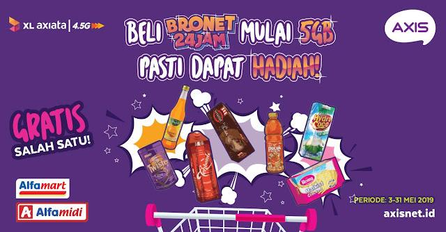 #AXIS - #Promo Dapat Hadiah Beli Bronet 24 Jam Mulai 5G di Alfamart & Alfamidi (s.d 31 Mei 2019)