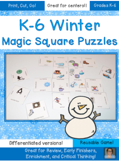 These winter Magic Square Puzzles are great for working on winter vocabulary! They're differentiated, so choose the option that works best for your Kindergarten, 1st, 2nd, 3rd, 4th, 5th, or 6th grade classroom or homeschool students! {FREE download}