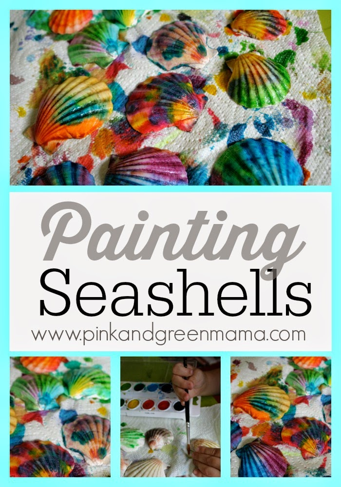 beach party craft ideas pink and green kid s craft painted sea shells 3429