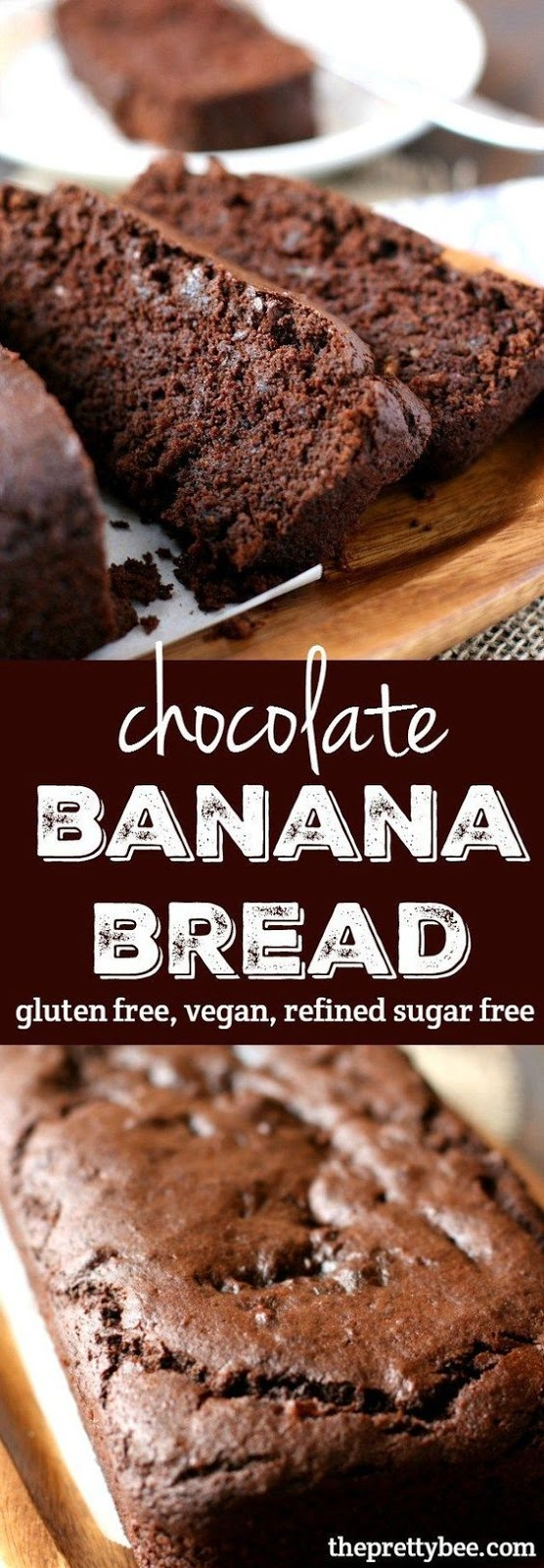 An easy recipe for chocolate banana bread that's gluten free, vegan, and refined sugar free.