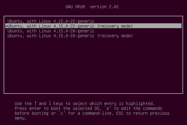 Ubuntu grub recovery mode