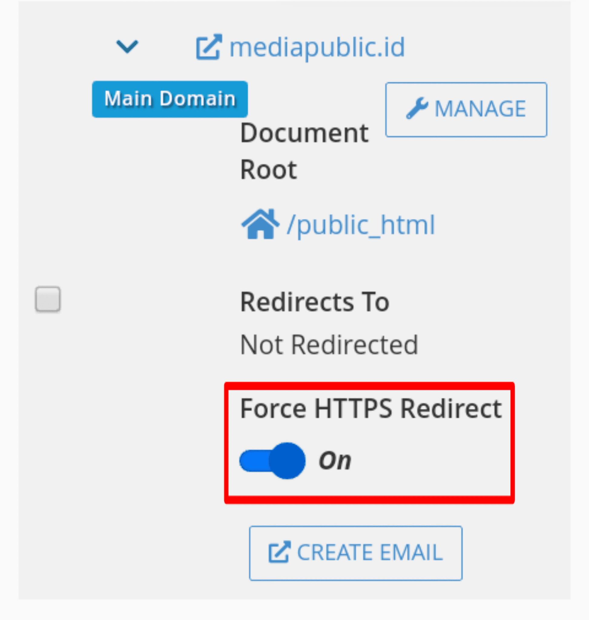 Membuat Auto Redirect HTTPS Pada Domain Di Cpanel