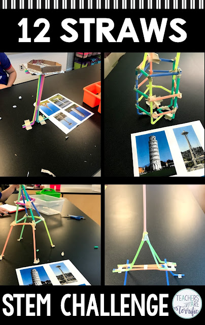 STEM Challenges using the easiest materials and only 12. It's either 12 straws or 12 cards and both projects are challenging. Both include many variations to make kids think outside the box! #STEM #teachersareterrific
