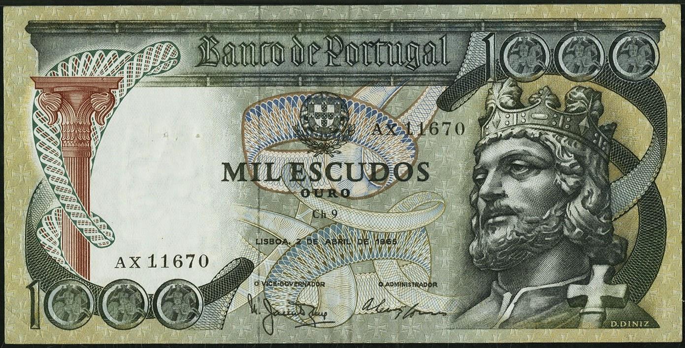 Portugal 1000 Escudos banknote 1965 Dom Diniz, Denis King of Portugal and the Algarve