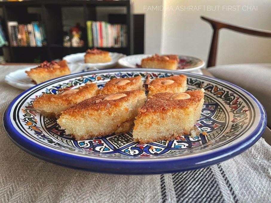 Basbousa pieces served on a tunisian plate