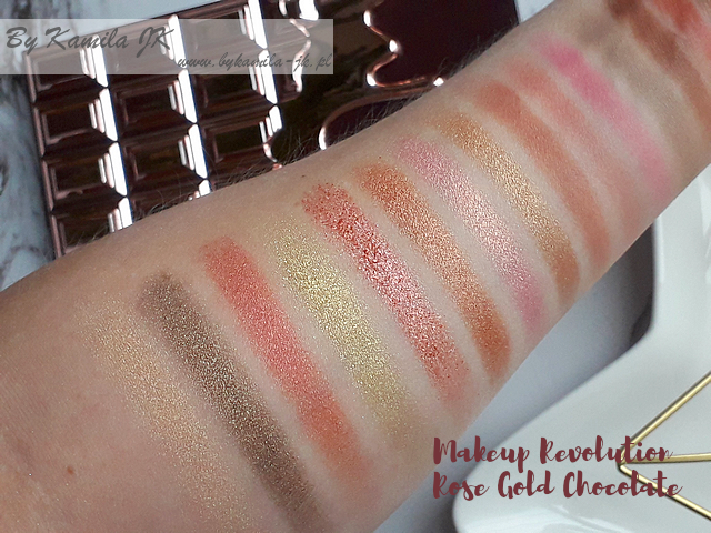 Makeup Revolution MUR czekoladka Chocolate Rose Gold  swatch