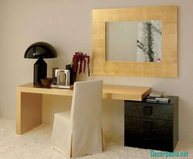 Modern dressing table design ideas with mirror, golden dressing table