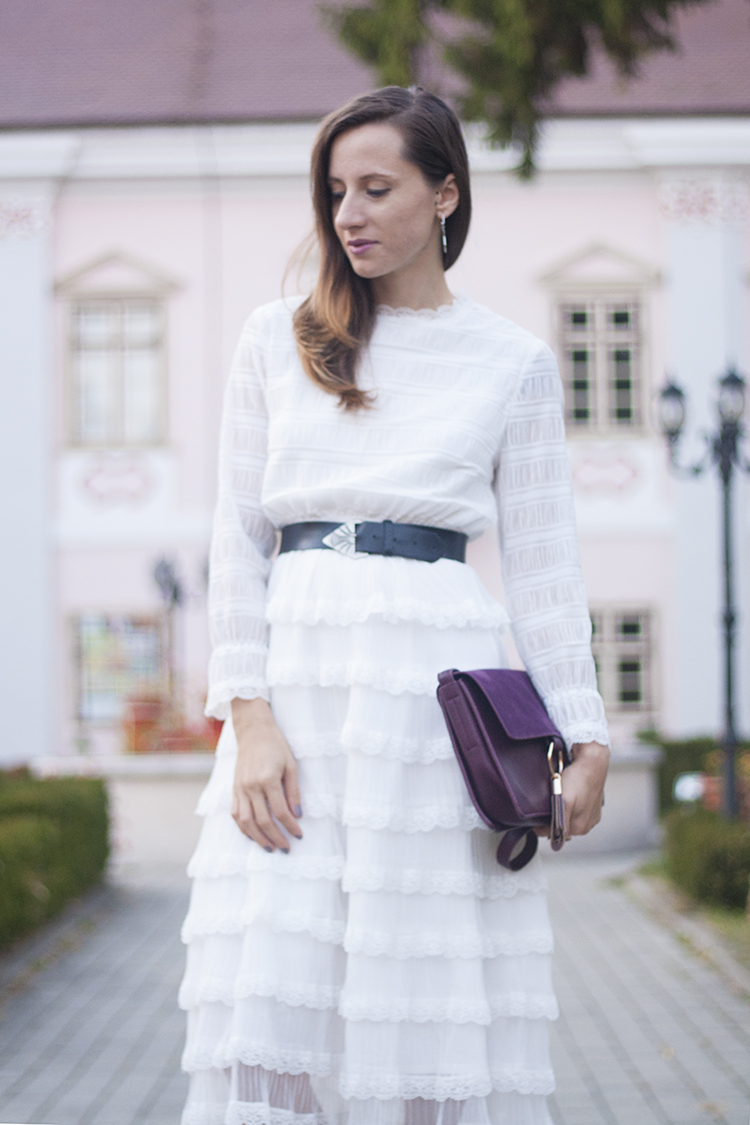 Skinny Buddha ruffle long sleeve white dress