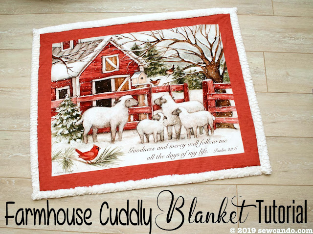 farmhouse cuddle blanket tutorial