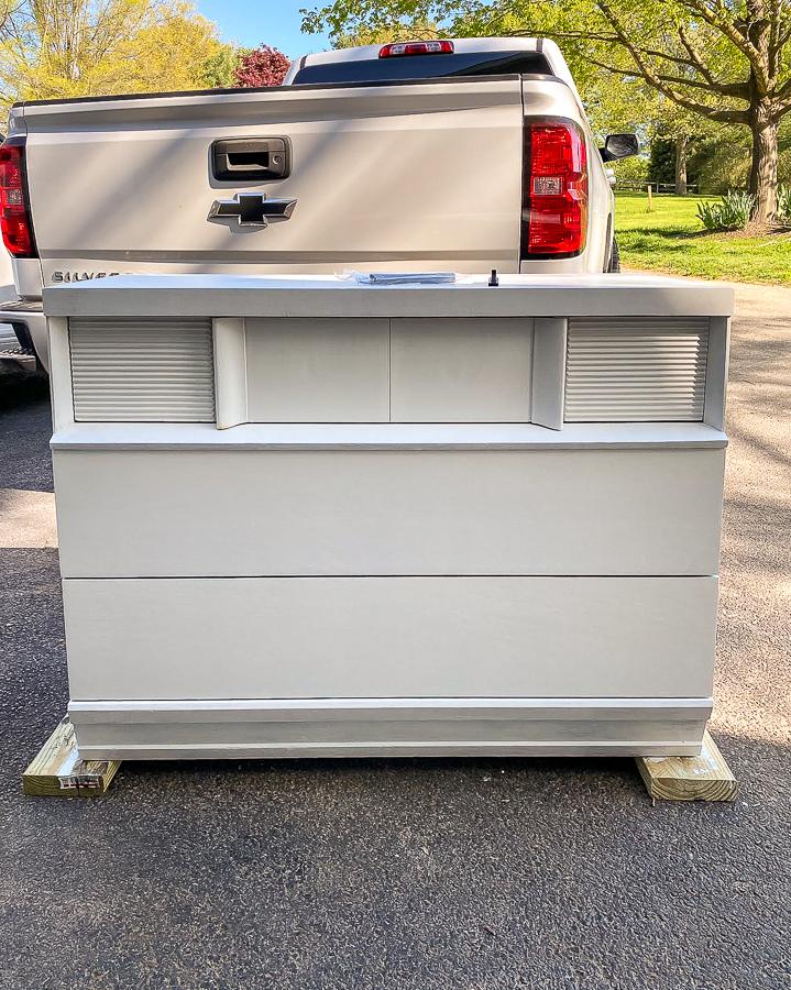 Primed mid-century modern dresser