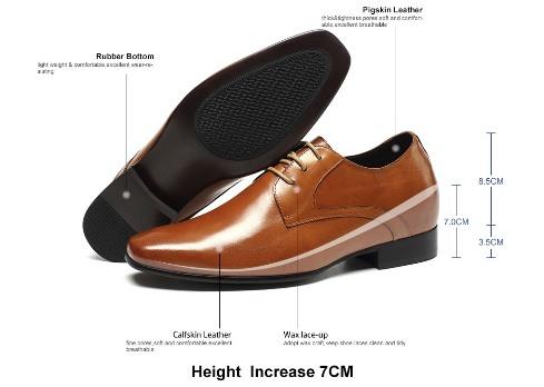Genuine Leather Dress Elevator Shoes Make Men Look Taller- Price: US $159.00